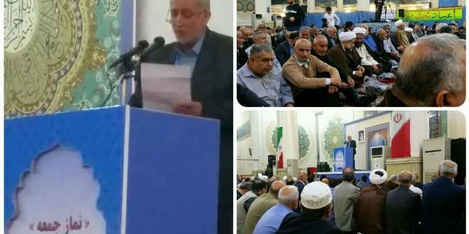 سخنرانی حاج آقا ایزدی دبیراجرایی خانه کارگر گیلان قبل از خطبه های نماز جمعه رشت
