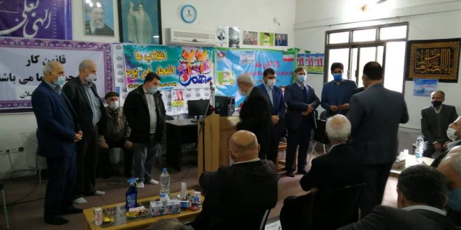برگزاری مراسم گرامیداشت دهه فجر در سالن اجتماعات خانه کارگر استان گیلان با حفظ فاصله اجتماعی